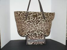 NINE WEST BROWN LEOPARD PRINT LARGE TOTE SHOULDER BAG SHOPPER W/ WALLET NEW