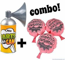 Fart in a Can Pooter Horn + 3 Whoopee Cushions - Gag Prank Joke ~ Combo Set