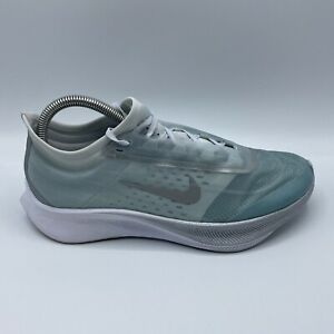 Nike Zoom Fly 3 Womens Sz 8.5 Running Shoes Pure Platinum Ocean Blue AT8241-302