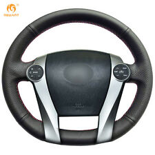 Soft Black Genuine Leather Steering Wheel Cover Wrap for Toyota Prius 2009-2015