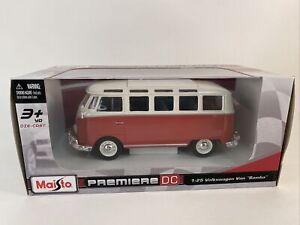 Maisto 1:24 Scale Volkswagen Samba Bus Diecast Vehicle, Red Premiere DC 1960's.