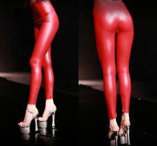 Faux Latex Leggings Hot Sexy Wetlook Zipper Crotch Skinny Pants Women Trousers