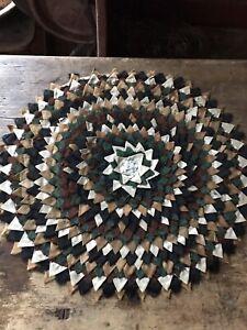 RARE Early Antique Handmade Layered Table Rug Brown Green Folk Art Textile AAFA