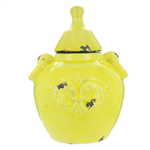 Shabby Chic, Yellow, Urn Style Ceramic Pot With Lid - Short