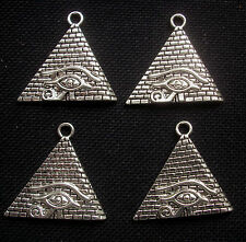 4 Ancient Egypt Pyramids Eye of Horus Pendant Charms 30mm Silver Tone Metal