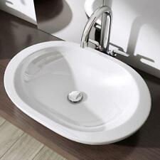 Oval Bathroom Sink White Ceramic Basin Hand Wash Bowl WC Vanity 590 x 400mm