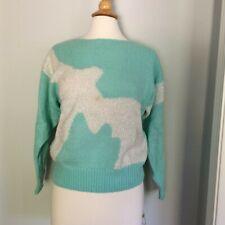Vtg Fairy Kei Kawaii sweater Pastel aqua abstract sparkly shag  80s L