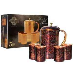 Pure Copper Jug with glass & Gift Box, Printed Design Purple 5 PCS IN SET