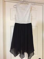 Girls Speechless Dress Size 10 Sleeveless Glittery White Top Black Chiffon Skirt