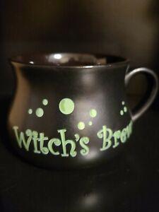 Gibson Home Halloween Witch's Brew Coffee Black Cauldron Mug w/Green Bubbles