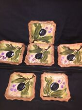 Tabletops Unlimited Olives Hand Painted Dip Bowl/ Butter Dish - Set Of 6