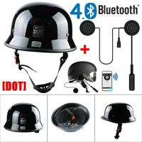 M L XL Motorcycle DOT German Half Face Helmet Chopper Cruiser Biker + Headset US