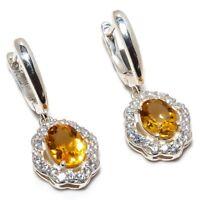 """Brazilian Aaa+++ Citrine Gemstone 925 Sterling Silver Earring 0.91"""" SE-28"""
