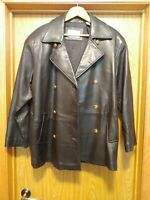 Lord Taylor Petites Women's Black Leather Jacket sz14 Gold anchor buttoned front