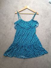 DKNY Women's sz M Blue Ruffle Summer Dress ~ Spaghetti Strap Dance w/ Shelf Bra