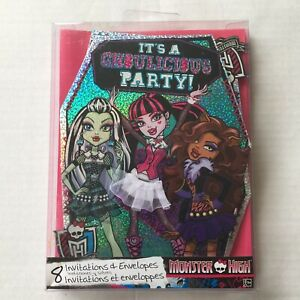 Monster High Birthday Party Invitations Deluxe (8 Pack)
