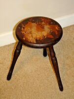 Antique Oak Milking Stool with Three Turned Legs & Bird in Tree Image to Seating