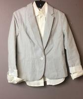 Gap Women Striped Cotton Jacket Lined Career Blazer & White Moda Shirt Sz 2 NWT