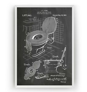 Toilet Seat Cover 1921 Patent Print - Bathroom Decor Art Poster - Unframed