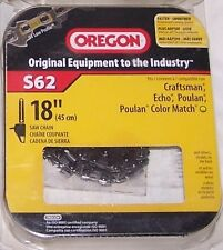 "OREGON S62 18"" Replacement Chain Saw Blade FITS Poulan Husqvarna Echo Makita"