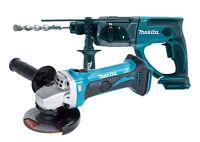 Makita DGA452Z 18V Angle Grinder + DHR202Z 18V Li-Ion SDS Plus Hammer Drill