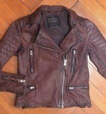 AllSaints Women's OXBLOOD Leather Biker Jacket UK 6