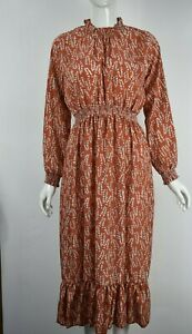 Women's Girls Leaf Print Shirred Waist Long Sleeve Ruffle Hem Midi Dress Orange