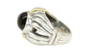 Lagos Caviar Sterling Silver 18K Gold Wheat Design Onyx Ring ~ Size 5