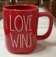 New Rare HTF Rae Dunn Red Valentine Mug LOVE WINS LL Magenta