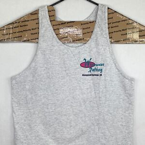 Vintage Whitewater Rafting Tank Top Medium M Gray Attack The Rapids Made In USA