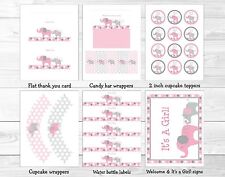 Pink and Gray Polka Dot Elephant Printable Baby Shower Package