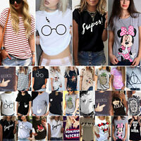 Plus Size Womens Short Sleeve Graphic T Shirt Tops Basic Tee Summer Loose Blouse