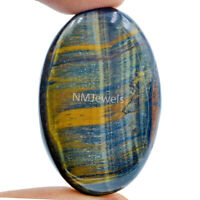 Cts. 74.80 Natural Chatoyant High Grade Blue Tiger Eye Cabochon Oval Gemstone
