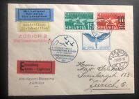 1937 Zurich Switzerland Airmail Special Flight Exhibition cover To Sitten Sc#c10