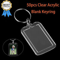 50PCS Blank Keyrings Clear Acrylic Photo Insert Frame Keyring DIY Key Ring AU