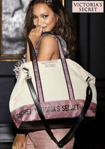 NWT$78Victoria's Secret Zipper Glitter Extra Large Pink Tote Bag Removable Strap
