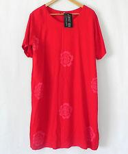 Island Feeling Dress Hand Paint Batik Rayon Short Sleeve Floral Size M