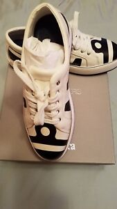 NEW MAXMARA Leather  SNEAKERS 9,5 [39.5] white black original price $545 lace-up