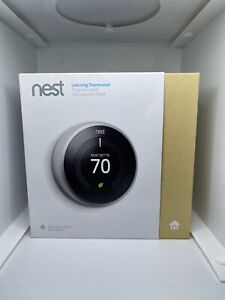 Google Nest Learning 3rd Generation Thermostat Black dial nice with box