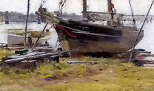 Oil painting theodore robinson - the e. m. j. betty ship by the river on canvas