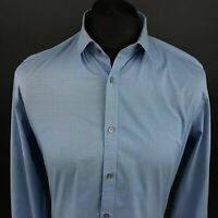 Calvin Klein Mens Shirt MEDIUM Long Sleeve Blue SLIM FIT Check Cotton NON IRON