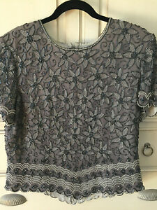 Size 3X Papell Boutique Evening Top Plus Size Burgundy Silk with Black and Silver Beading