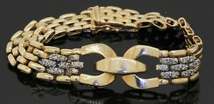 Heavy 14K gold high fashion .56CTW diamond 11.5mm wide panther link bracelet