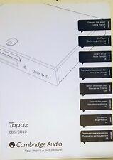 UFFICIALE Cambridge Audio TOPAZ CD5/CD10 Lettore CD Manuale dell'utente