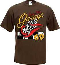 T Shirt im Schokoton mit einem Hot Rod-,US Car-& `50 Stylemotiv Modell Garage 69