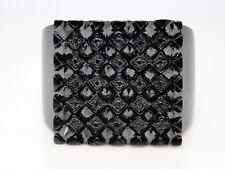 New Mens Black Diamond On Black Rhodium 6 Row Pinky Ring 3.93 Ct