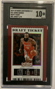 2019-20 Contenders Draft Ticket 18 James Harden Red /99 SGC 10 GEM MINT PSA/BGS?