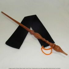 """16"""" Hand Turned Carved Mahogany Wood Magic Wand Witch Wizard Wicca w/ Velvet Bag"""