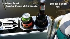 Diamond Plate JUMBO 2 Cup Drink Holder Fits     1 Inch Pontoon Boat Fence Rail