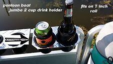 Diamond Plate JUMBO 2 Cup Drink Holder Fits >>> 1 Inch Pontoon Boat Fence Rail